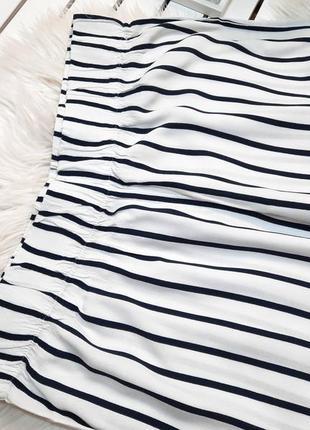 Летние белые широкие брюки в полоску вискоза m&s p. m-l4 фото