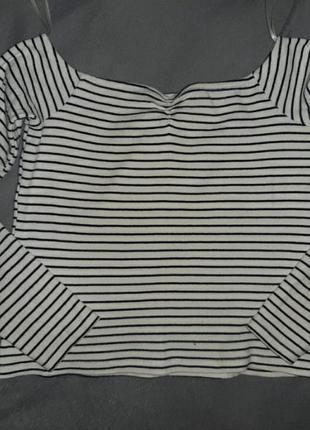 Кроп топ в полоску кофта футболка лонгслив