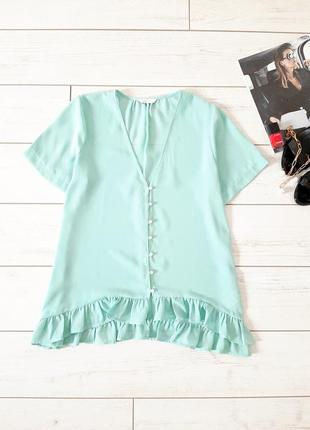 Летняя легкая блуза с оборкой_цвет тиффани1 фото