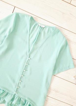 Летняя легкая блуза с оборкой_цвет тиффани2 фото