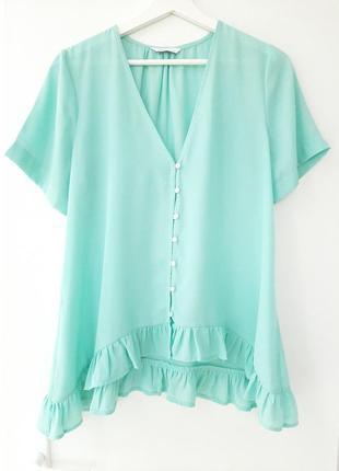 Летняя легкая блуза с оборкой_цвет тиффани6 фото