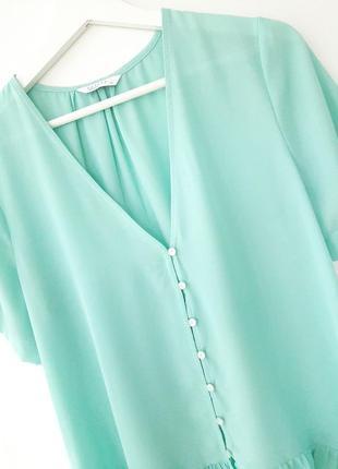 Летняя легкая блуза с оборкой_цвет тиффани7 фото