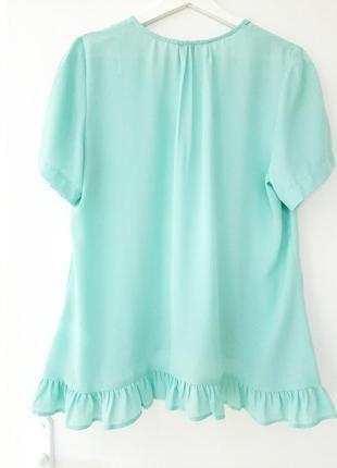 Летняя легкая блуза с оборкой_цвет тиффани8 фото