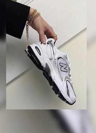 Новые женские кроссовки new balance 530 white grey серые белые ньюбелансы спортивные на лето на очень