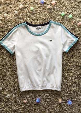 Белая майка поло тенниска футболка lacoste roland garros оригинал1 фото
