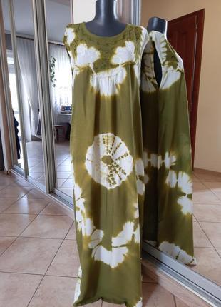 Комфортное с вышивкой платье 👗большого размера1 фото