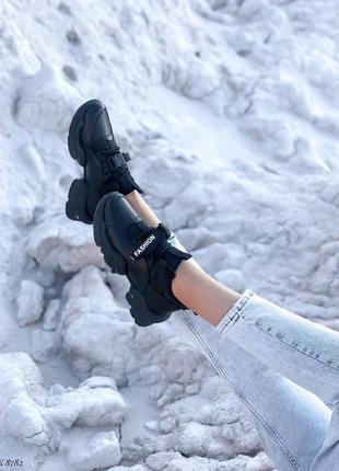 Кроссовки кеды эко-кожа текстиль черный4 фото