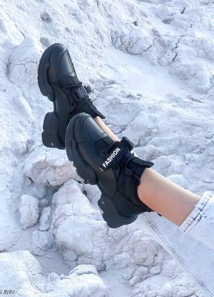 Кроссовки кеды эко-кожа текстиль черный3 фото