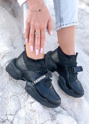 Кроссовки кеды эко-кожа текстиль черный5 фото
