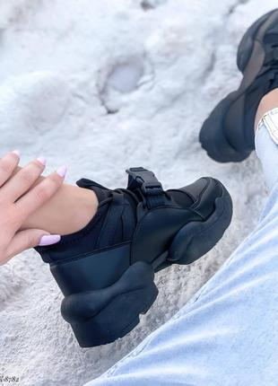 Кроссовки кеды эко-кожа текстиль черный6 фото