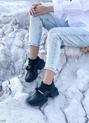 Кроссовки кеды эко-кожа текстиль черный2 фото