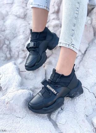 Кроссовки кеды эко-кожа текстиль черный1 фото