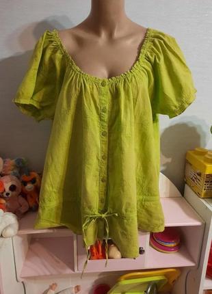 Натуральная хлопковая блуза-распашонка с шитьем, пог-63