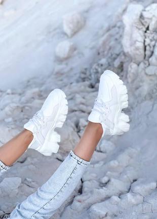 Кроссовки кеды эко-замш эко-нубук текстиль белый