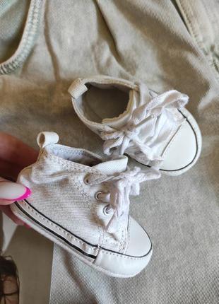 Білі кросівки дитячі джинс на шнурках / топіки взуття дитяче