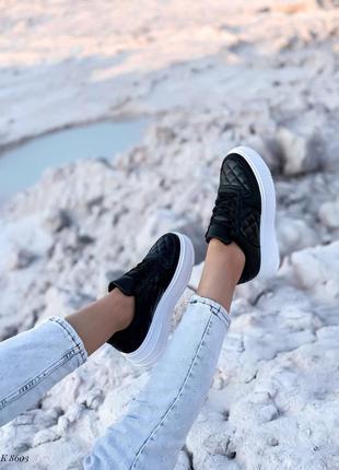 Кроссовки кеды эко-кожа черный