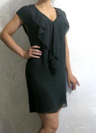 Элегантное тёмно серое шифоновое платье с рюшами 2nd day