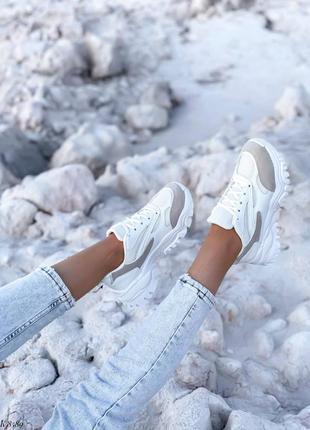 Кроссовки кеды эко-кожа текстиль эко-замш белый серый