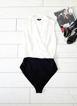 Базовая блуза_боди,белая на запах_шифон