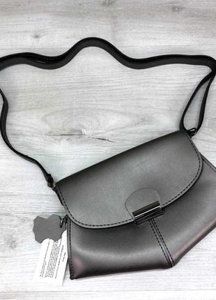 Женская молодежная сумочка клатч кроссбоди женская сумка на пояс aliri-t61-11 металлик