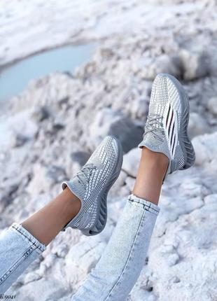 Кроссовки кеды текстиль белый серый