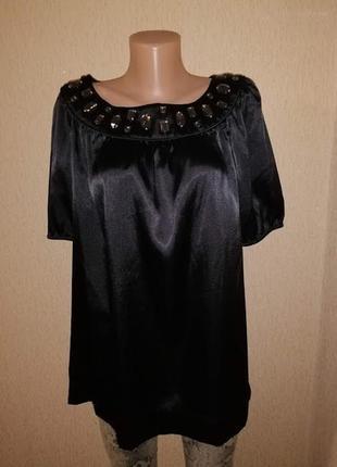 Красивая женская атласная, шелковая черная блузка, кофта 16 размера3 фото