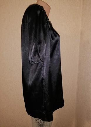 Красивая женская атласная, шелковая черная блузка, кофта 16 размера6 фото