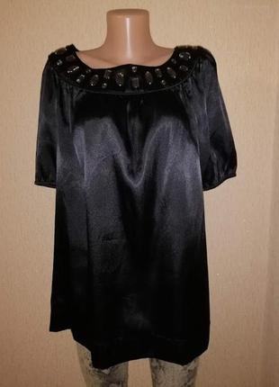 Красивая женская атласная, шелковая черная блузка, кофта 16 размера2 фото