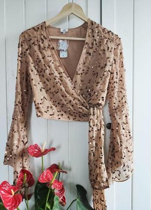 Стильная блуза, накидка пайетки от river island xs