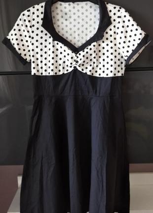 Plus-size! платье с кокеткой в горошек в стиле одри moda