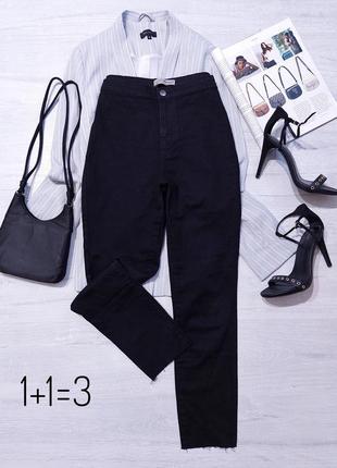 Denim co базовые джинсы на талию m высокая посадка узкачи скинни тренд черные легкие