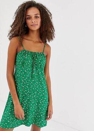 Зеленое платье в мелкий цветочек от new look