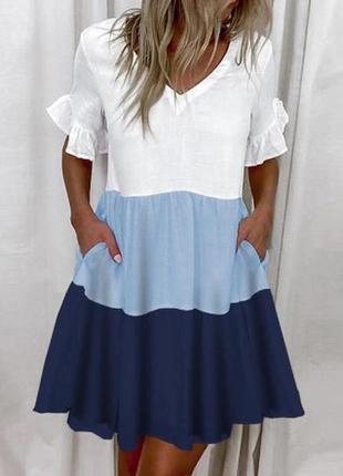 Платье летнее трехцветное с воланами и с карманами