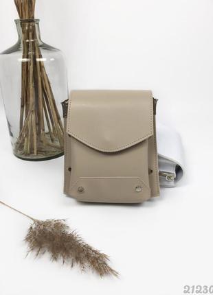 Бежева кросбоді каркасна жіноча сумочка, женская сумка через плечо кроссбоди беж