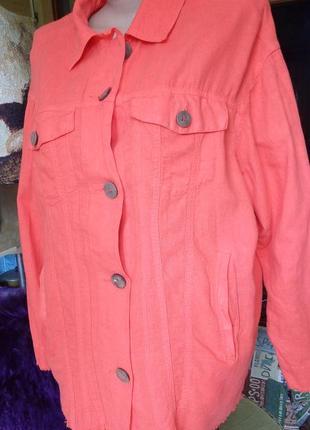 Стильный яркий льняной пиджак/крой джинсовки/оверсайз/обстрепанный низ/zara