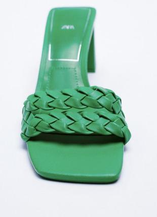 Кожаные босоножки на каблуке от zara оригинал новые 20213 фото
