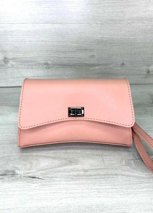Модная женская молодежная поясная сумка кроссбоди  aliri-901-10 пудровая