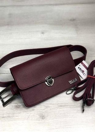 Модная стильная женская сумка на пояс клатч aliri-604-07 бордового цвета