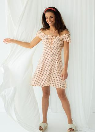 Платье в горох с завязками, цвет кремовый