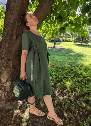 Льняне плаття, зелене плаття, платье, льняна сукня2 фото
