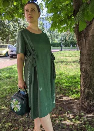 Льняне плаття, зелене плаття, платье, льняна сукня1 фото