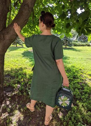 Льняне плаття, зелене плаття, платье, льняна сукня3 фото