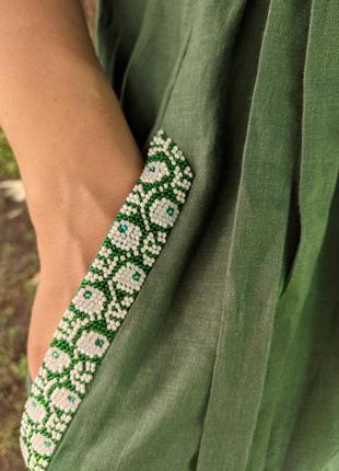 Льняне плаття, зелене плаття, платье, льняна сукня4 фото