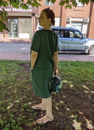 Льняне плаття, зелене плаття, платье, льняна сукня5 фото