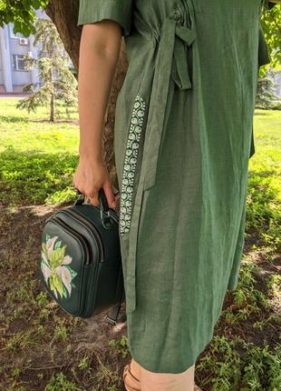 Льняне плаття, зелене плаття, платье, льняна сукня6 фото