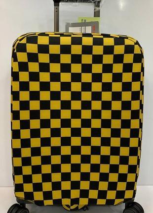 Чехол на чемодан желто-черная клетка