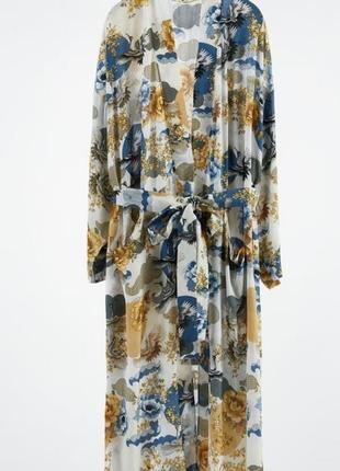 Невероятно шикарный новый длинный халат кимоно накидка от zara вискоза