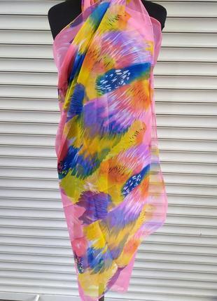 Парео розовое шифоновый пляжный платок