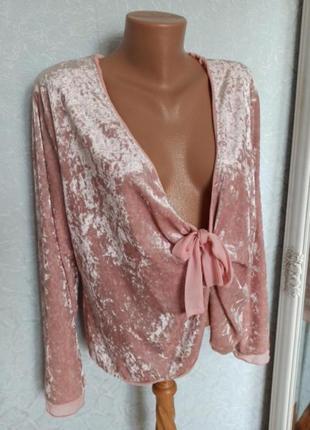 Блуза пиджак батал накидка бархат велюр розовый