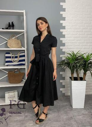 Платье миди на пуговицах с коротким рукавом